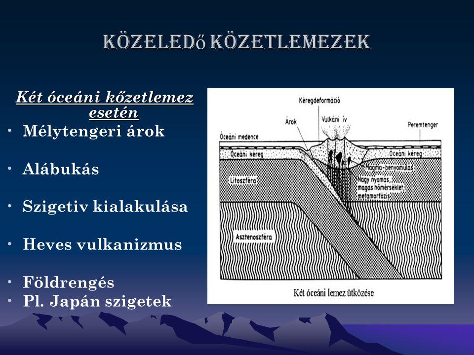 Közeled ő közetlemezek ábra Két óceáni kőzetlemez esetén Mélytengeri árok Alábukás Szigetiv kialakulása Heves vulkanizmus Földrengés Pl.