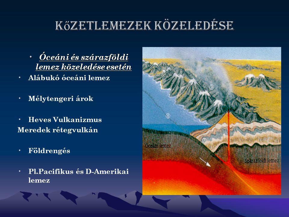 K ő zetlemezek közeledése Óceáni és szárazföldi lemez közeledése esetén Óceáni és szárazföldi lemez közeledése esetén Alábukó óceáni lemez Mélytengeri árok Heves Vulkanizmus Meredek rétegvulkán Földrengés Pl.Pacifikus és D-Amerikai lemez