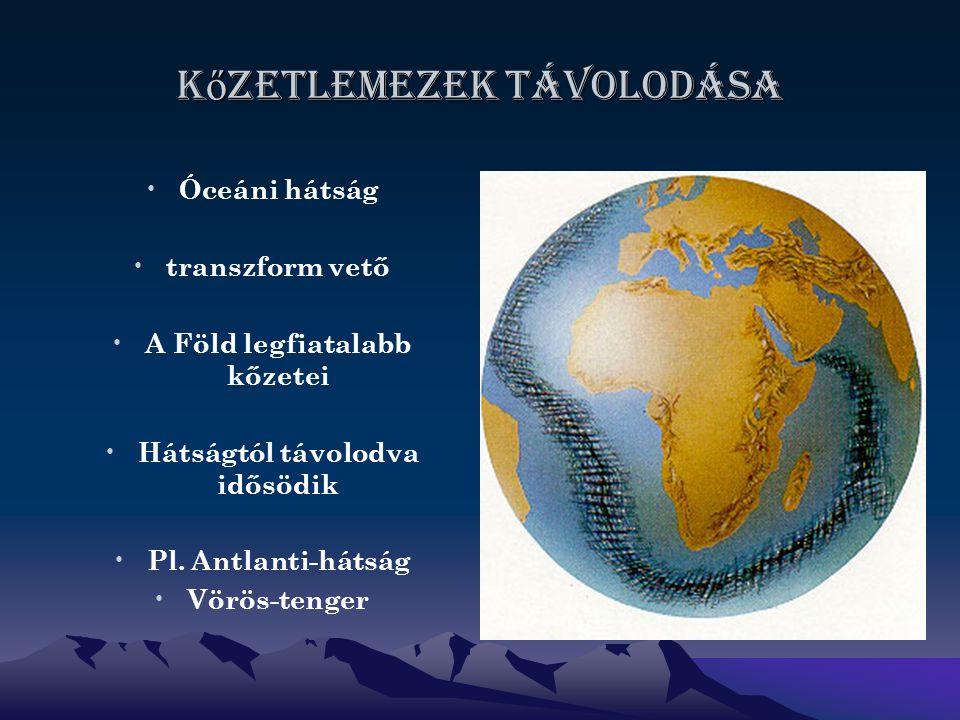 K ő zetlemezek távolodása Óceáni hátság transzform vető A Föld legfiatalabb kőzetei Hátságtól távolodva idősödik Pl.