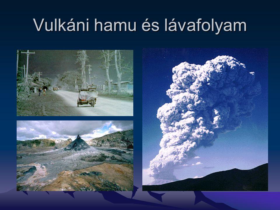 Vulkáni hamu és lávafolyam
