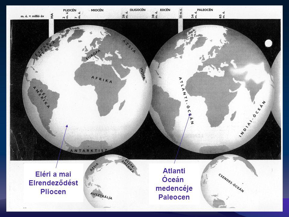 Atlanti Óceán medencéje Paleocen Eléri a mai Elrendeződést Pliocen