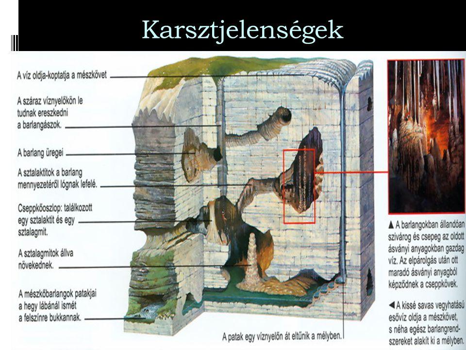 Karsztjelenségek  Karsztvíz: a mészkő repedéshálózatába kerülő csapadékvíz.  A karsztvíz pusztító, szállító és építő munkát végez. ( karsztjelensége