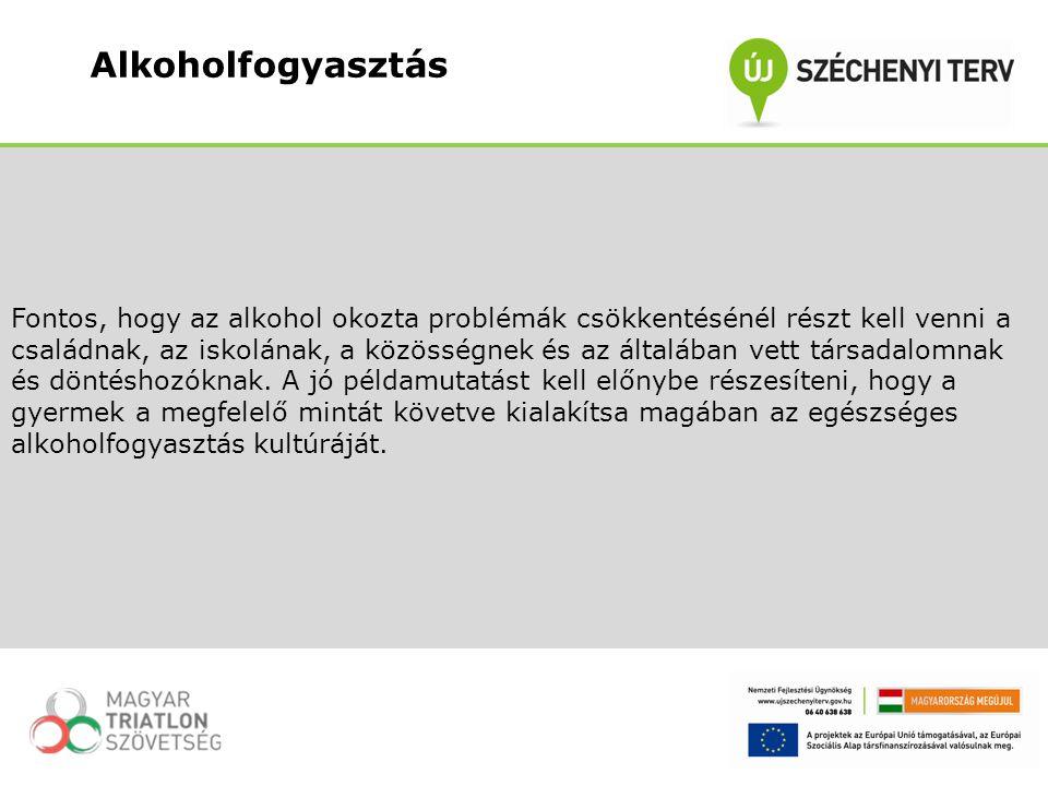 Fontos, hogy az alkohol okozta problémák csökkentésénél részt kell venni a családnak, az iskolának, a közösségnek és az általában vett társadalomnak é