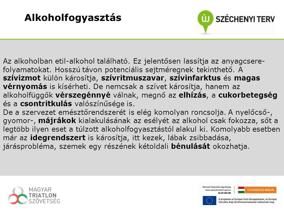 Az alkoholban etil-alkohol található. Ez jelentősen lassítja az anyagcsere- folyamatokat. Hosszú távon potenciális sejtméregnek tekinthető. A szívizmo