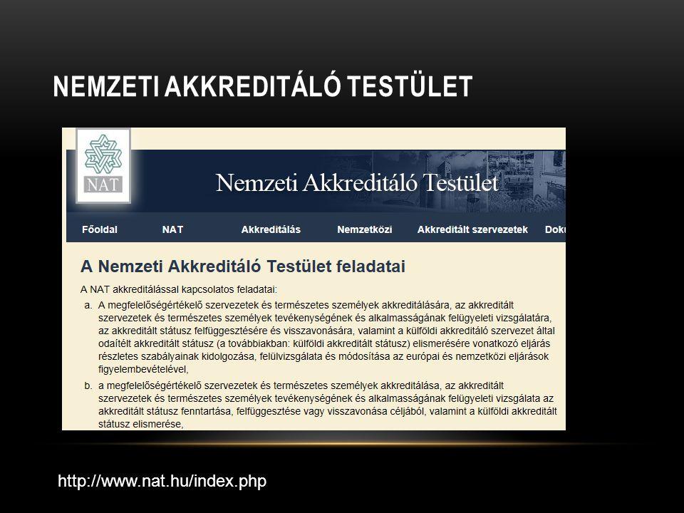 NEMZETI AKKREDITÁLÓ TESTÜLET http://www.nat.hu/index.php