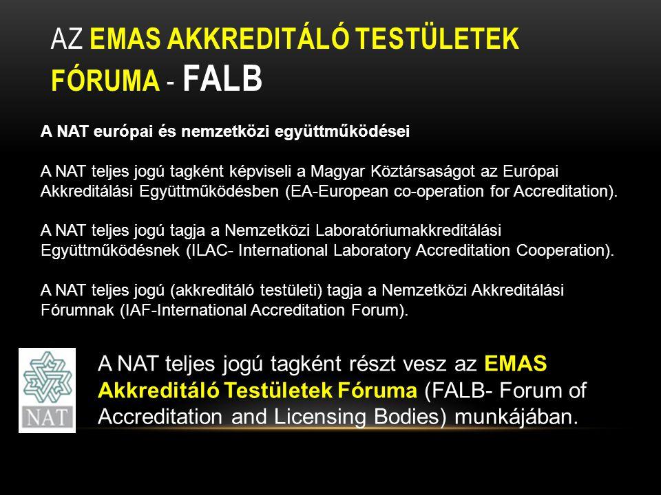 AZ EMAS AKKREDITÁLÓ TESTÜLETEK FÓRUMA - FALB A NAT európai és nemzetközi együttműködései A NAT teljes jogú tagként képviseli a Magyar Köztársaságot az Európai Akkreditálási Együttműködésben (EA-European co-operation for Accreditation).