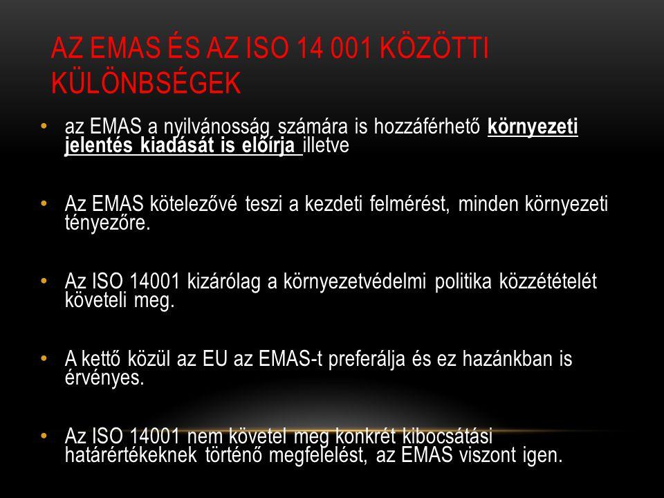AZ EMAS ÉS AZ ISO 14 001 KÖZÖTTI KÜLÖNBSÉGEK az EMAS a nyilvánosság számára is hozzáférhető környezeti jelentés kiadását is előírja illetve Az EMAS kötelezővé teszi a kezdeti felmérést, minden környezeti tényezőre.