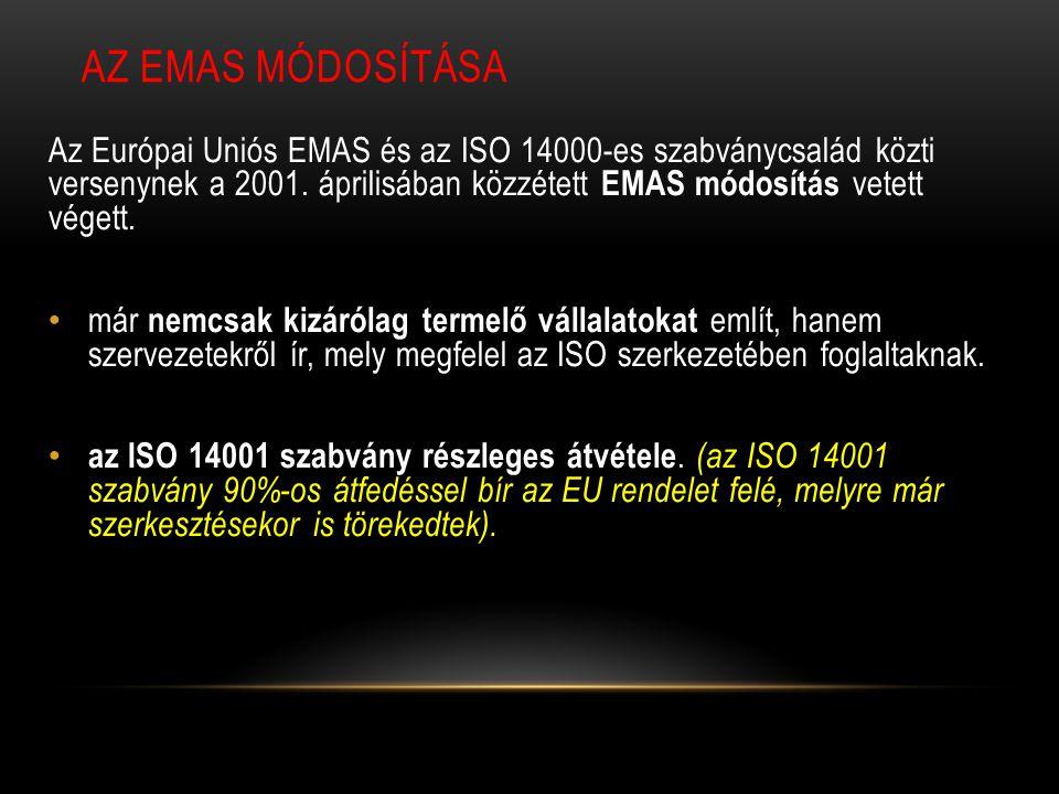 AZ EMAS MÓDOSÍTÁSA Az Európai Uniós EMAS és az ISO 14000-es szabványcsalád közti versenynek a 2001. áprilisában közzétett EMAS módosítás vetett végett
