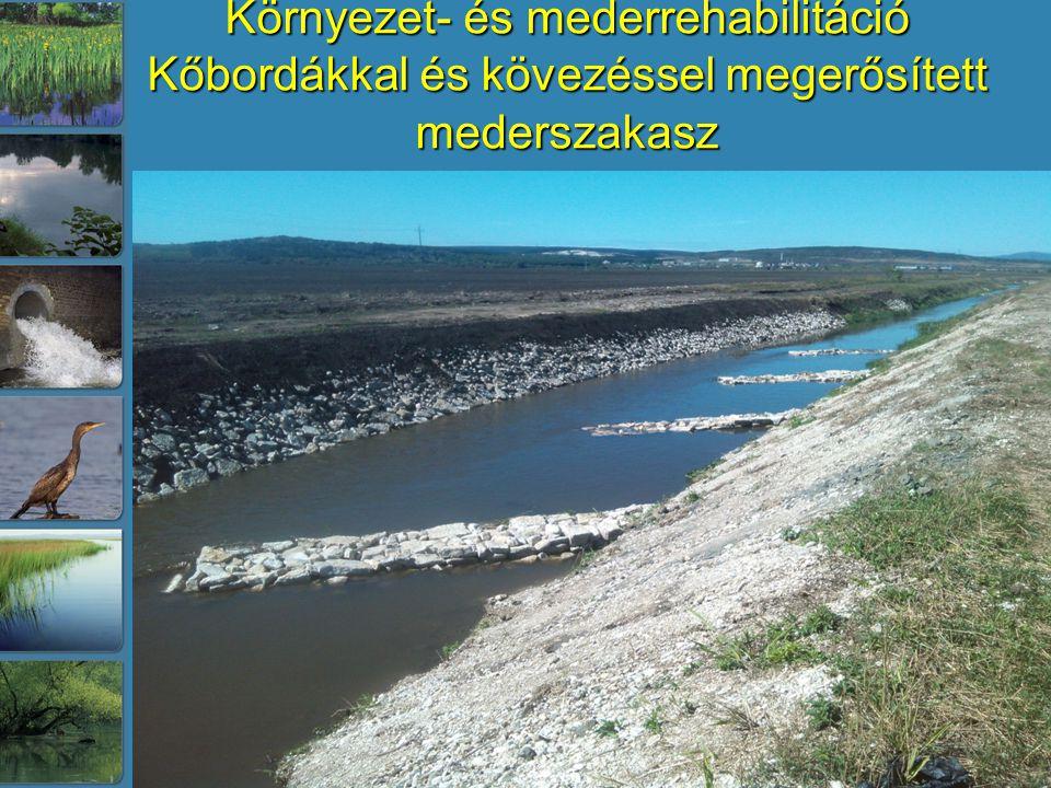 Környezet- és mederrehabilitáció Kőbordákkal és kövezéssel megerősített mederszakasz