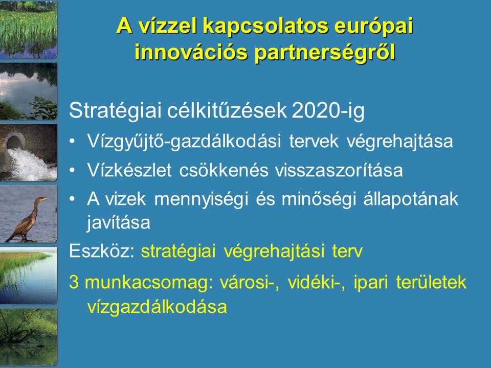 A vízzel kapcsolatos európai innovációs partnerségről Stratégiai célkitűzések 2020-ig Vízgyűjtő-gazdálkodási tervek végrehajtása Vízkészlet csökkenés visszaszorítása A vizek mennyiségi és minőségi állapotának javítása Eszköz: stratégiai végrehajtási terv 3 munkacsomag: városi-, vidéki-, ipari területek vízgazdálkodása