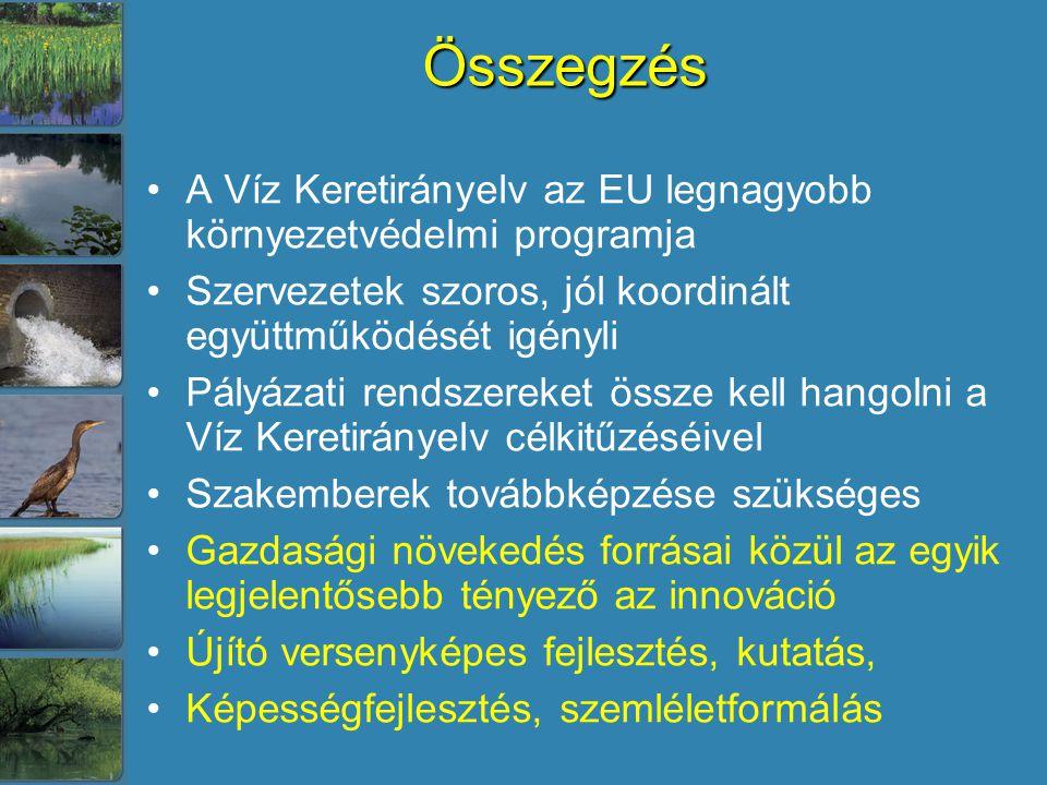 Összegzés A Víz Keretirányelv az EU legnagyobb környezetvédelmi programja Szervezetek szoros, jól koordinált együttműködését igényli Pályázati rendszereket össze kell hangolni a Víz Keretirányelv célkitűzéséivel Szakemberek továbbképzése szükséges Gazdasági növekedés forrásai közül az egyik legjelentősebb tényező az innováció Újító versenyképes fejlesztés, kutatás, Képességfejlesztés, szemléletformálás
