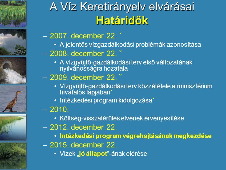 A Víz Keretirányelv elvárásai Határidők –2007. december 22. ˇ A jelentős vízgazdálkodási problémák azonosítása –2008. december 22. ˇ A vízgyűjtő-gazdá