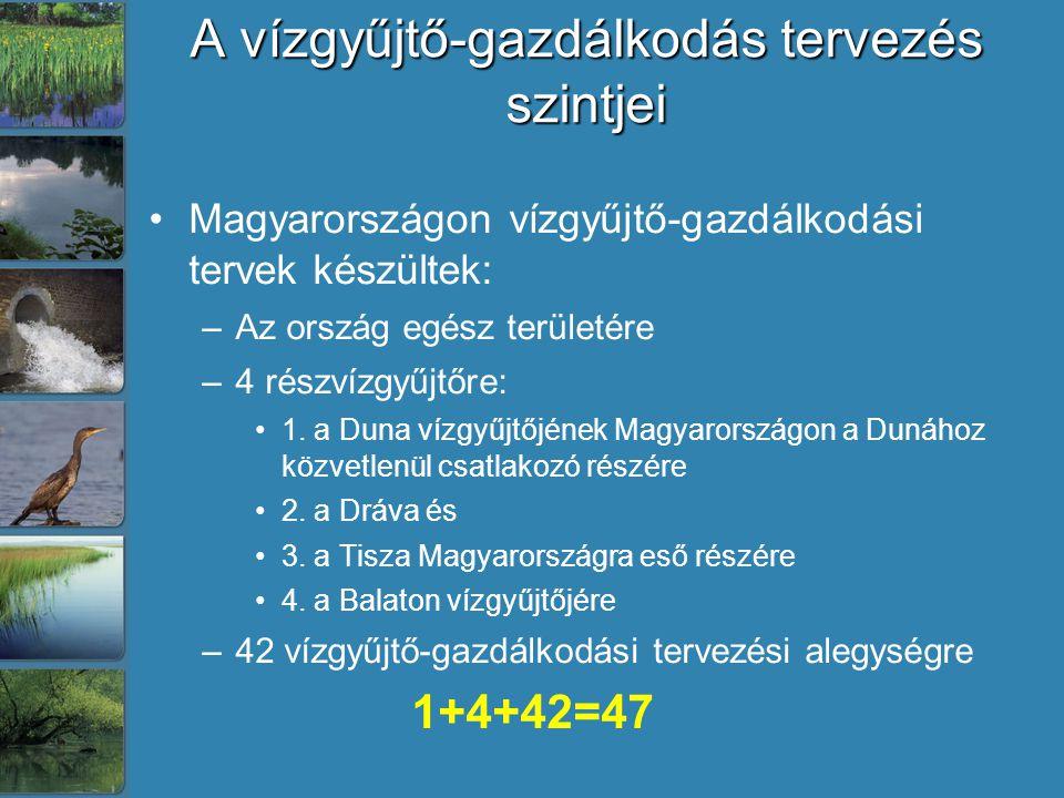 A vízgyűjtő-gazdálkodás tervezés szintjei Magyarországon vízgyűjtő-gazdálkodási tervek készültek: –Az ország egész területére –4 részvízgyűjtőre: 1. a