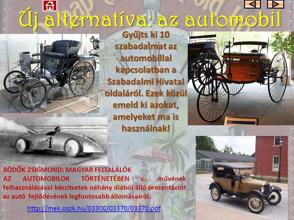 Új alternatíva: az automobil Gyűjts ki 10 szabadalmat az automobillal kapcsolatban a Szabadalmi Hivatal oldaláról.