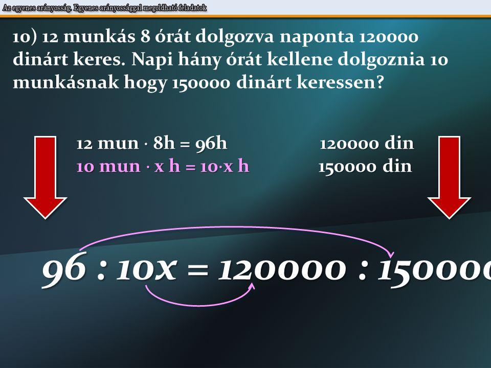 12 mun  8h = 96h 120000 din 10 mun  x h = 10  x h 150000 din 96 : 10x = 120000 : 150000 10) 12 munkás 8 órát dolgozva naponta 120000 dinárt keres.
