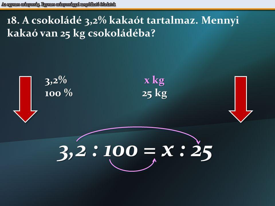 3,2% x kg 100 % 25 kg 3,2 : 100 = x : 25 18. A csokoládé 3,2% kakaót tartalmaz.
