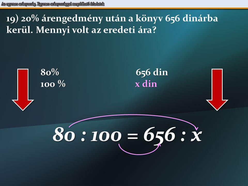 80% 656 din 100 % x din 80 : 100 = 656 : x 19) 20% árengedmény után a könyv 656 dinárba kerül.