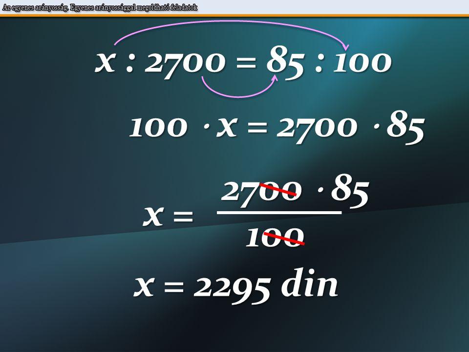 3200 din 20% x din 100 % 3200 : x = 20 : 100 21.Egy munkás 20%-os fizetésemelést kapott.