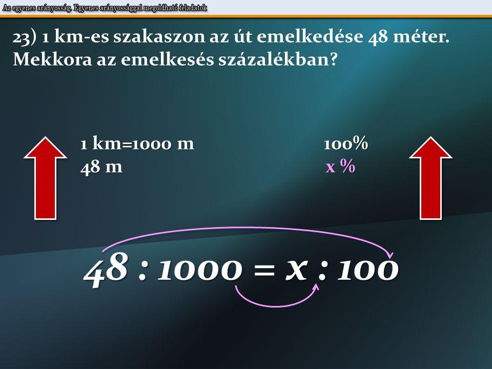 1 km=1000 m 100% 48 m x % 48 : 1000 = x : 100 23) 1 km-es szakaszon az út emelkedése 48 méter.