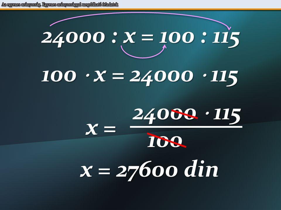 24000 : x = 100 : 115 100  x = 24000  115 24000  115 x = 100 x = 27600 din