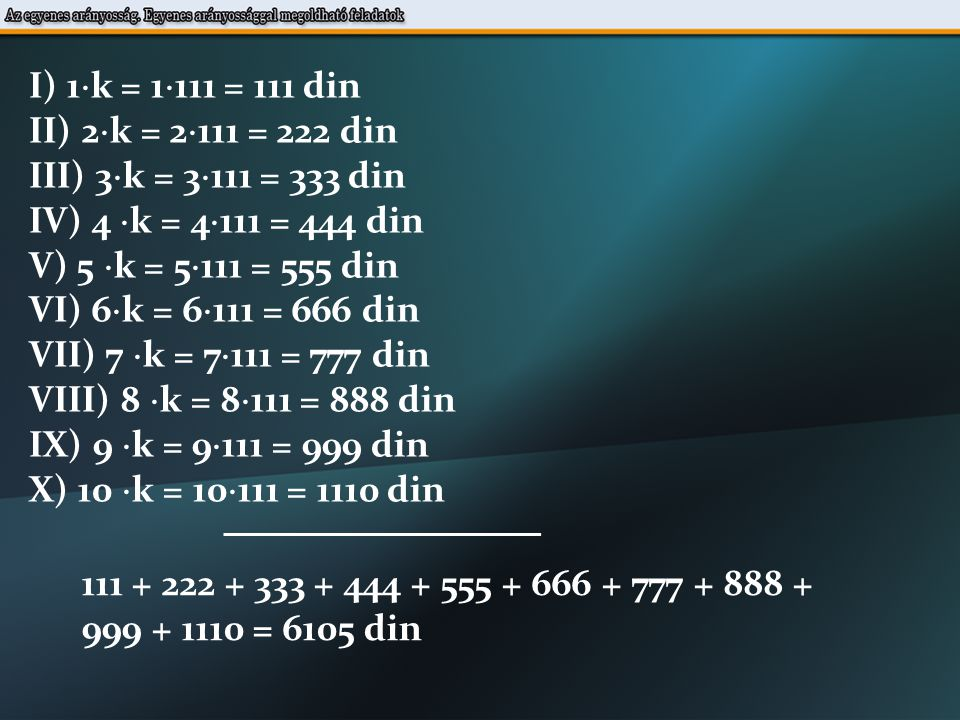 I) 1  k = 1  111 = 111 din II) 2  k = 2  111 = 222 din III) 3  k = 3  111 = 333 din IV) 4  k = 4  111 = 444 din V) 5  k = 5  111 = 555 din VI) 6  k = 6  111 = 666 din VII) 7  k = 7  111 = 777 din VIII) 8  k = 8  111 = 888 din IX) 9  k = 9  111 = 999 din X) 10  k = 10  111 = 1110 din 111 + 222 + 333 + 444 + 555 + 666 + 777 + 888 + 999 + 1110 = 6105 din