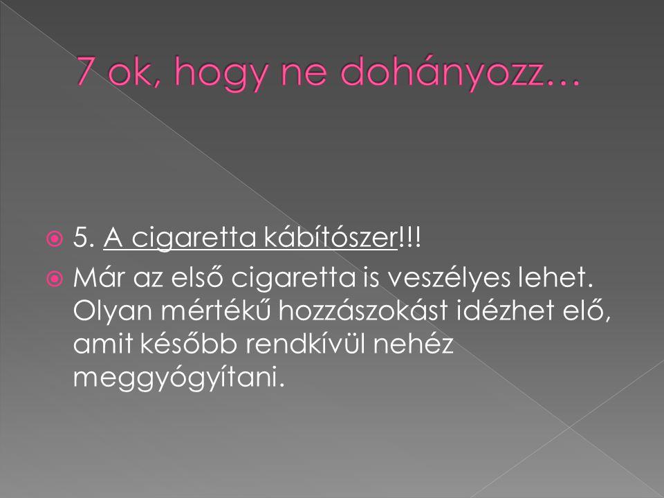  6.A dohányzás károsítja a dohányzó ember környezetében élők egészségét.