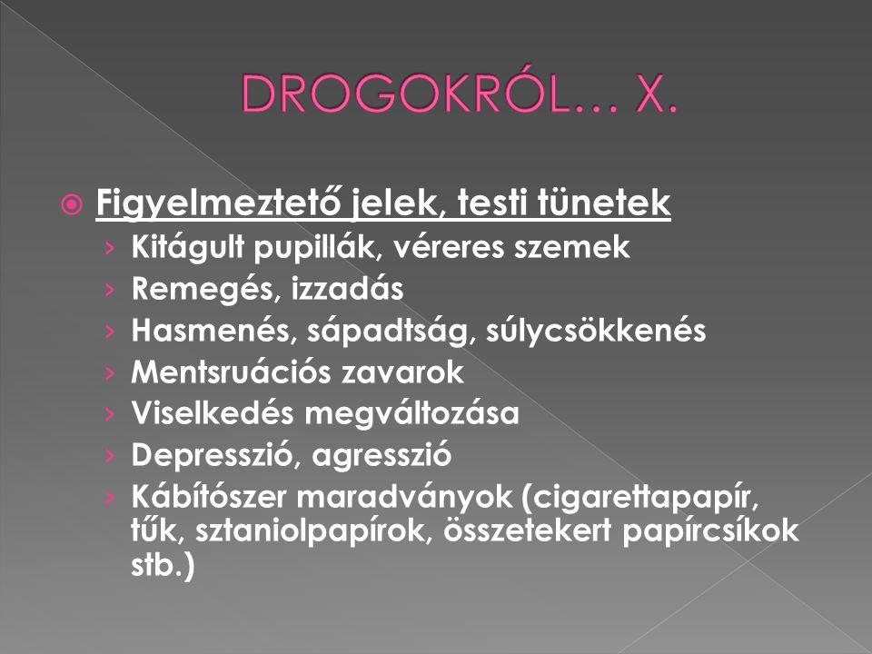  Modern vagy legális drogok  Exstasy  Eufórikus érzés, felpörgés (kb.