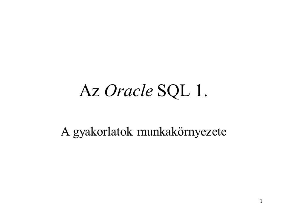 1 Az Oracle SQL 1. A gyakorlatok munkakörnyezete