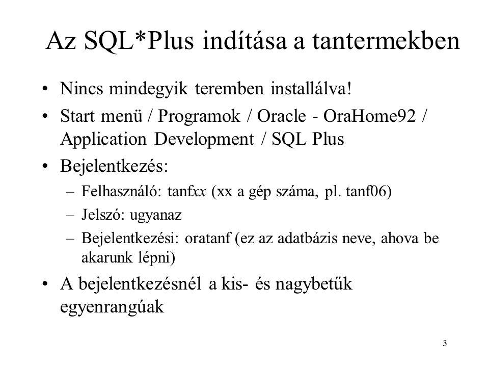 3 Az SQL*Plus indítása a tantermekben Nincs mindegyik teremben installálva! Start menü / Programok / Oracle - OraHome92 / Application Development / SQ