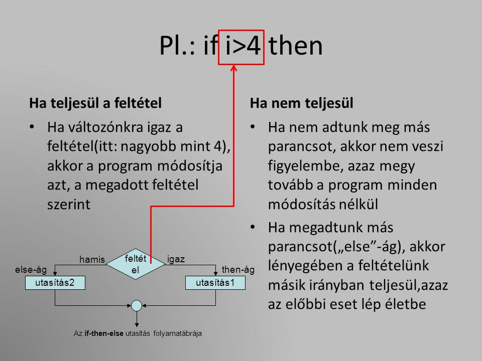 """Pl.: if i>4 then Ha teljesül a feltétel Ha változónkra igaz a feltétel(itt: nagyobb mint 4), akkor a program módosítja azt, a megadott feltétel szerint Ha nem teljesül Ha nem adtunk meg más parancsot, akkor nem veszi figyelembe, azaz megy tovább a program minden módosítás nélkül Ha megadtunk más parancsot(""""else -ág), akkor lényegében a feltételünk másik irányban teljesül,azaz az előbbi eset lép életbe feltét el utasítás1utasítás2 igaz then-ág hamis else-ág Az if-then-else utasítás folyamatábrája"""