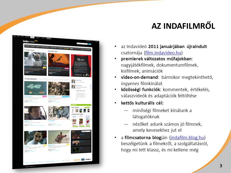 AZ INDAFILMRŐL az Indavideó 2011 januárjában újraindult csatornája (film.indavideo.hu)film.indavideo.hu premierek változatos műfajokban: nagyjátékfilm