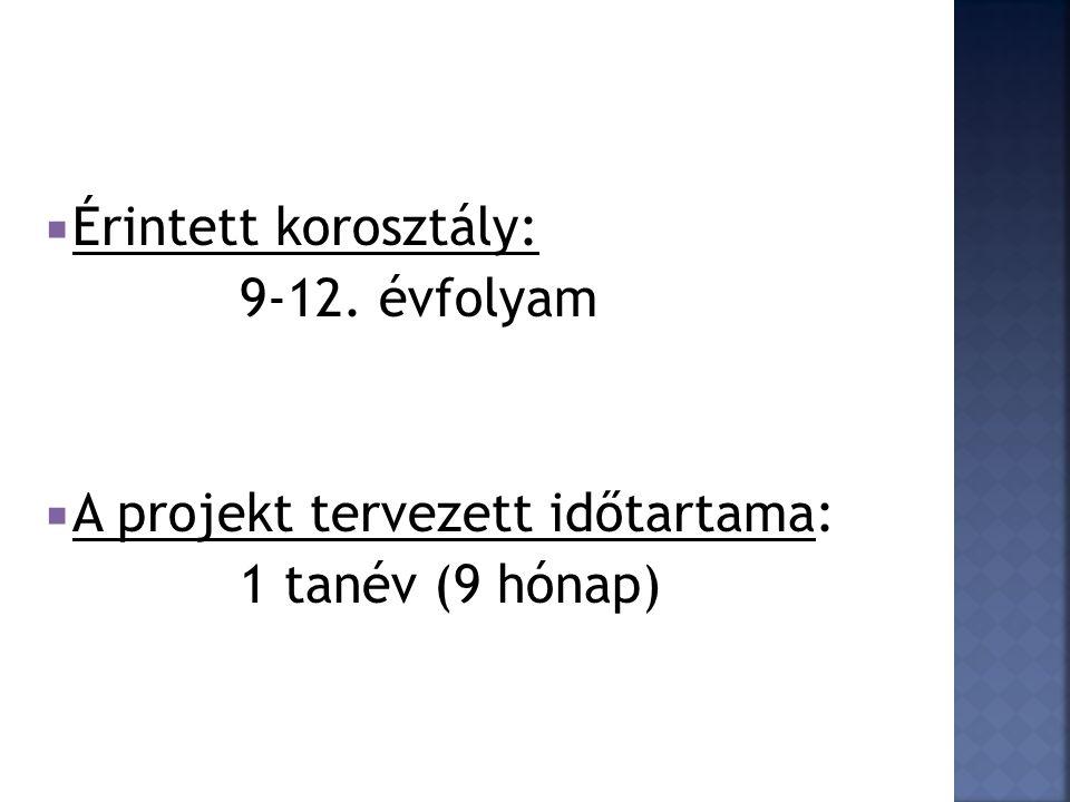  Érintett korosztály: 9-12. évfolyam  A projekt tervezett időtartama: 1 tanév (9 hónap)