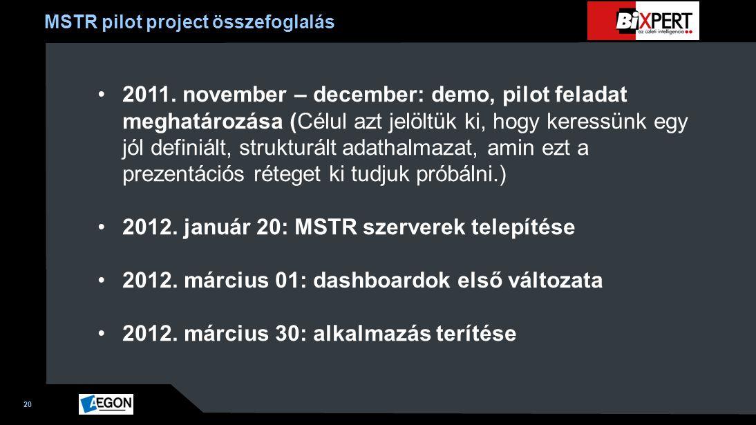 20 MSTR pilot project összefoglalás 2011. november – december: demo, pilot feladat meghatározása (Célul azt jelöltük ki, hogy keressünk egy jól defini