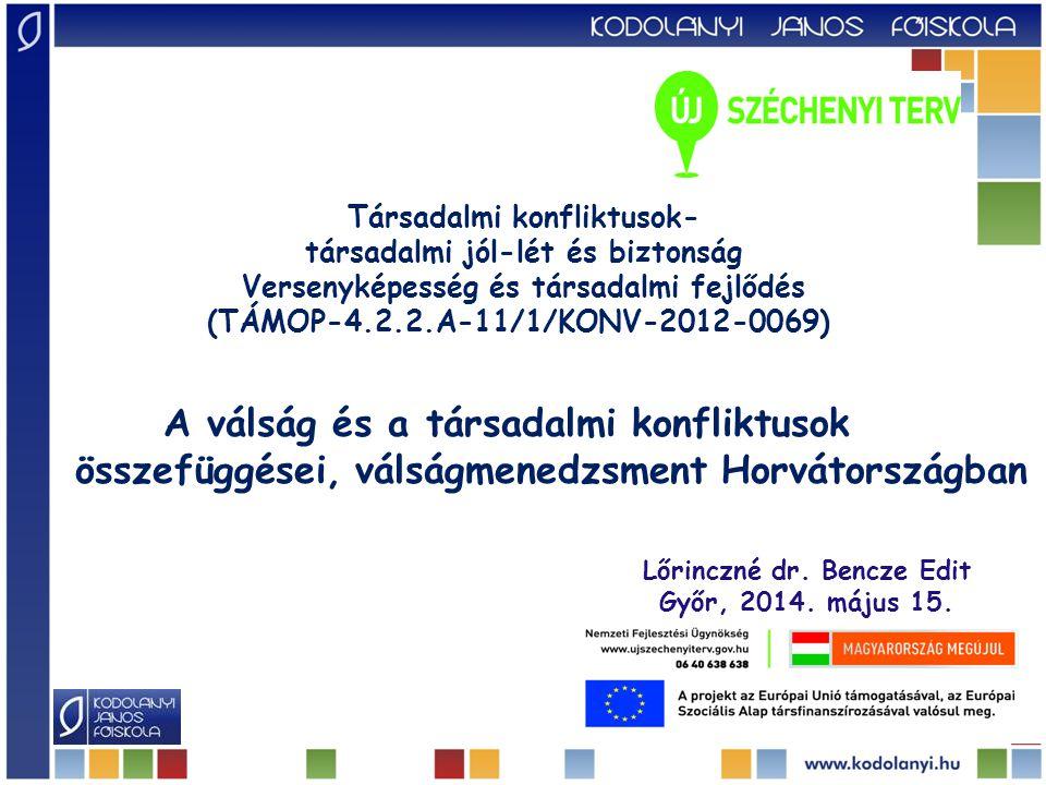 A válság és a társadalmi konfliktusok összefüggései, válságmenedzsment Horvátországban Lőrinczné dr. Bencze Edit Győr, 2014. május 15. Társadalmi konf