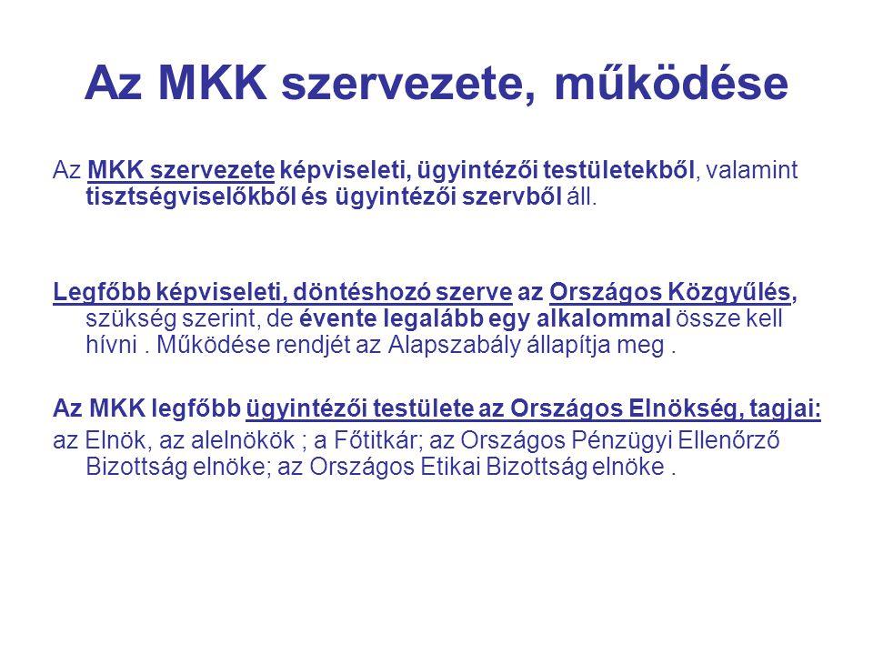 Az MKK szervezete, működése Az MKK szervezete képviseleti, ügyintézői testületekből, valamint tisztségviselőkből és ügyintézői szervből áll.