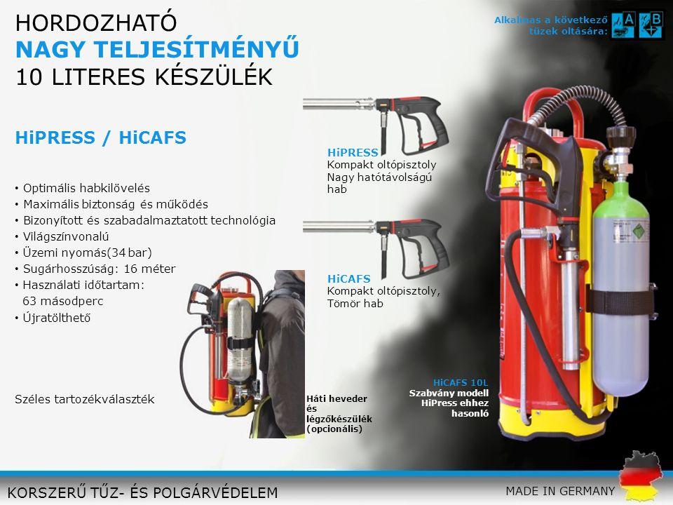 HiCAFS 10L Szabvány modell HiPress ehhez hasonló HiPRESS Kompakt oltópisztoly Nagy hatótávolságú hab HiCAFS Kompakt oltópisztoly, Tömör hab Optimális