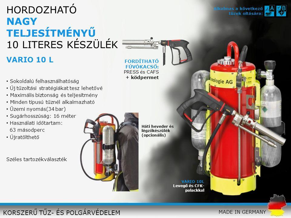 VARIO 10L Levegő és CFK- palackkal FORDÍTHATÓ FÚVÓKACSŐ: PRESS és CAFS + ködpermet Üzemi nyomás(34 bar) Sugárhosszúság: 16 méter Használati időtartam:
