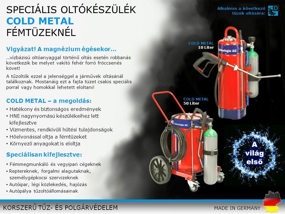 SPECIÁLIS OLTÓKÉSZÜLÉK COLD METAL FÉMTÜZEKNÉL KORSZERŰ TŰZ- ÉS POLGÁRVÉDELEM Vigyázat! A magnézium égésekor… …vízbázisú oltóanyaggal történő oltás ese