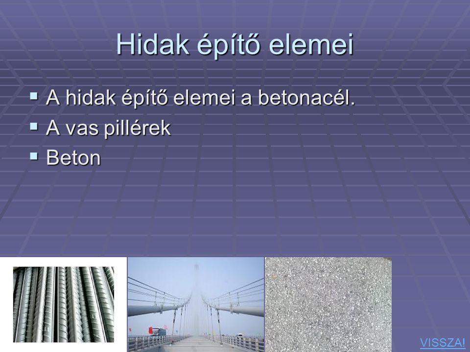 Hidak építő elemei  A hidak építő elemei a betonacél.  A vas pillérek  Beton VISSZA!