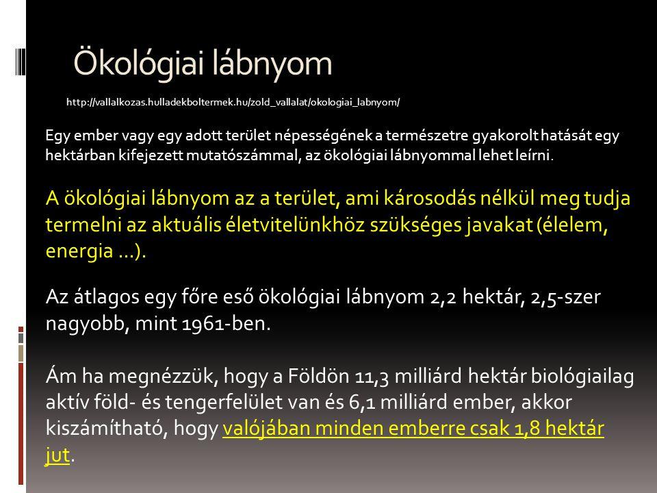 Ökológiai lábnyom http://vallalkozas.hulladekboltermek.hu/zold_vallalat/okologiai_labnyom/ Egy ember vagy egy adott terület népességének a természetre gyakorolt hatását egy hektárban kifejezett mutatószámmal, az ökológiai lábnyommal lehet leírni.