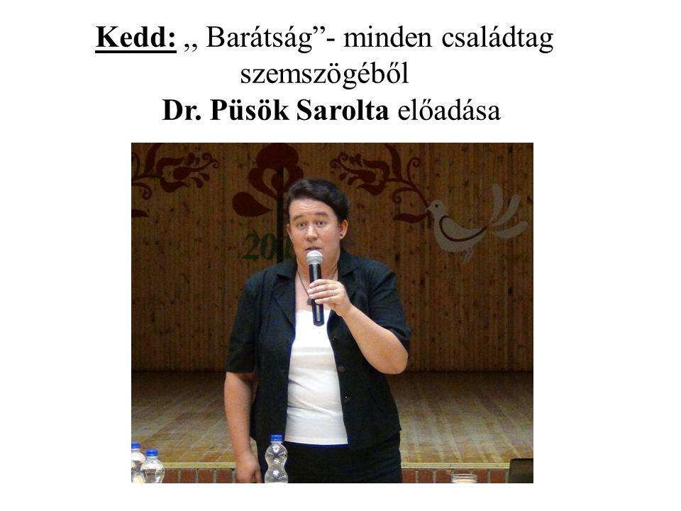"""Kedd:,, Barátság""""- minden családtag szemszögéből Dr. Püsök Sarolta előadása"""