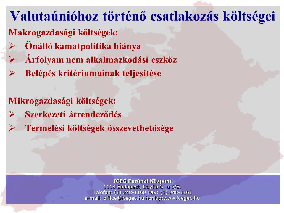 Valutaúnióhoz történő csatlakozás költségei Makrogazdasági költségek:  Önálló kamatpolitika hiánya  Árfolyam nem alkalmazkodási eszköz  Belépés kritériumainak teljesítése Mikrogazdasági költségek:  Szerkezeti átrendeződés  Termelési költségek összevethetősége ICEG Európai Központ 1118 Budapest, Dayka G.