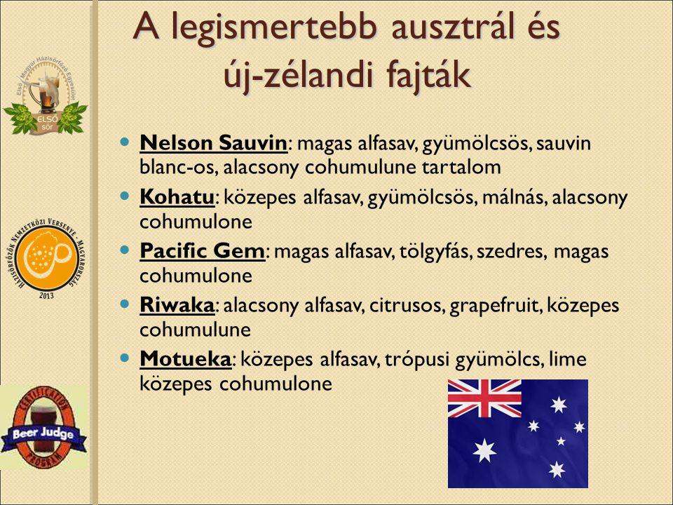 A legismertebb ausztrál és új-zélandi fajták Nelson Sauvin: magas alfasav, gyümölcsös, sauvin blanc-os, alacsony cohumulune tartalom Kohatu: közepes a