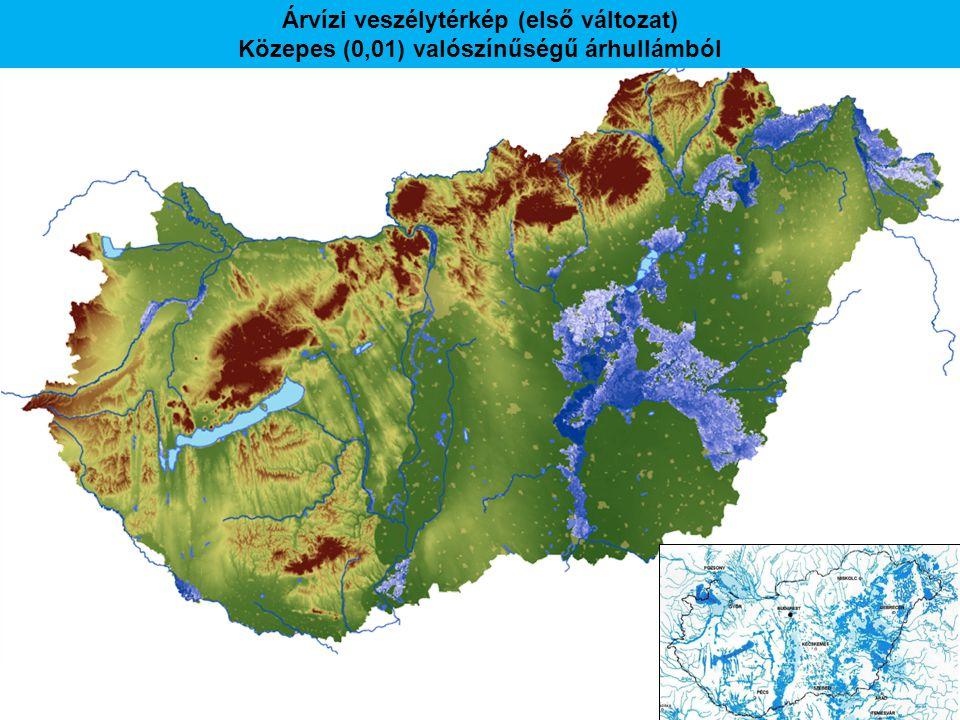 Árvízi veszélytérkép (első változat) Közepes (0,01) valószínűségű árhullámból