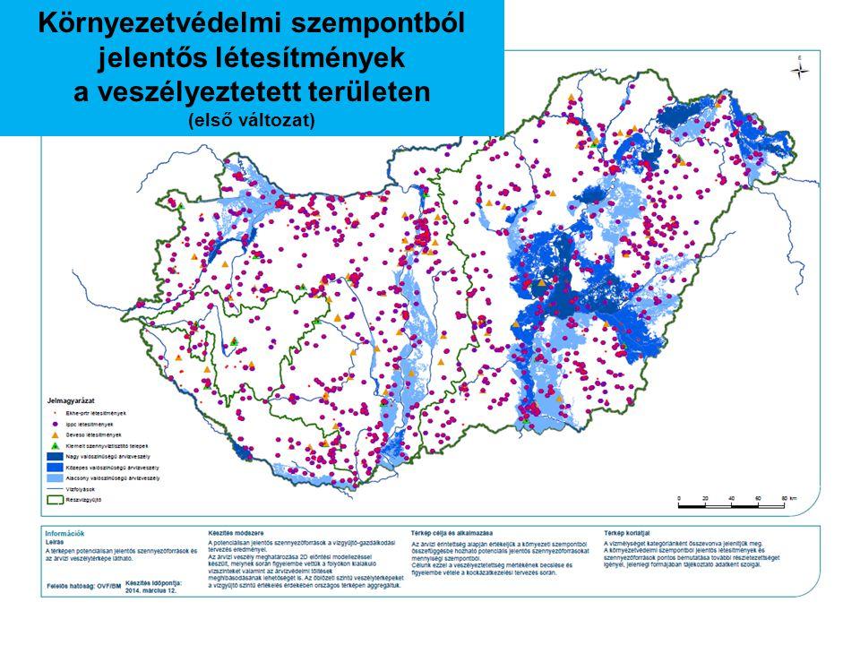 Környezetvédelmi szempontból jelentős létesítmények a veszélyeztetett területen (első változat)