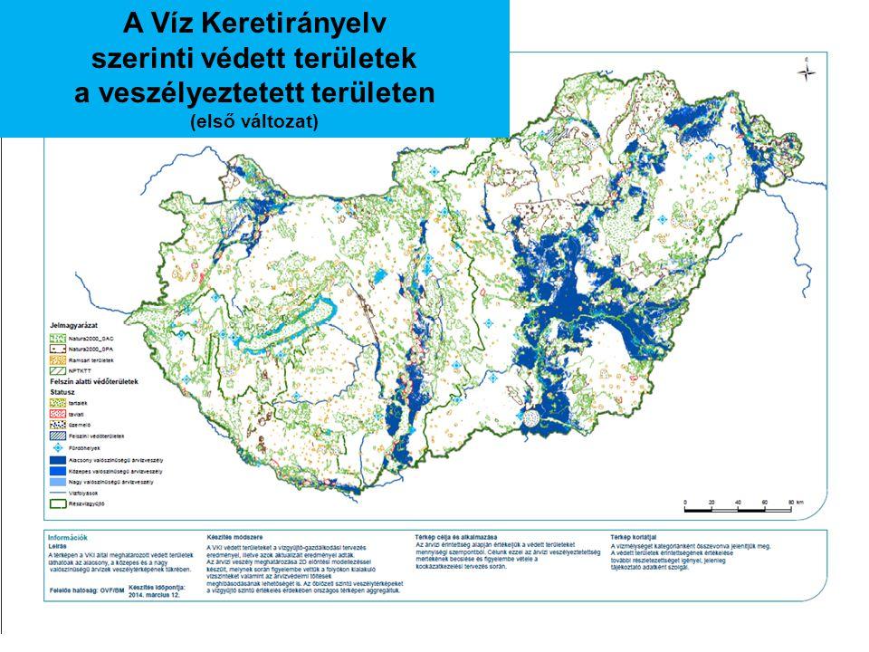 A Víz Keretirányelv szerinti védett területek a veszélyeztetett területen (első változat)