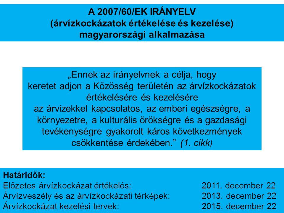 """A 2007/60/EK IRÁNYELV (árvízkockázatok értékelése és kezelése) magyarországi alkalmazása """"Ennek az irányelvnek a célja, hogy keretet adjon a Közösség"""
