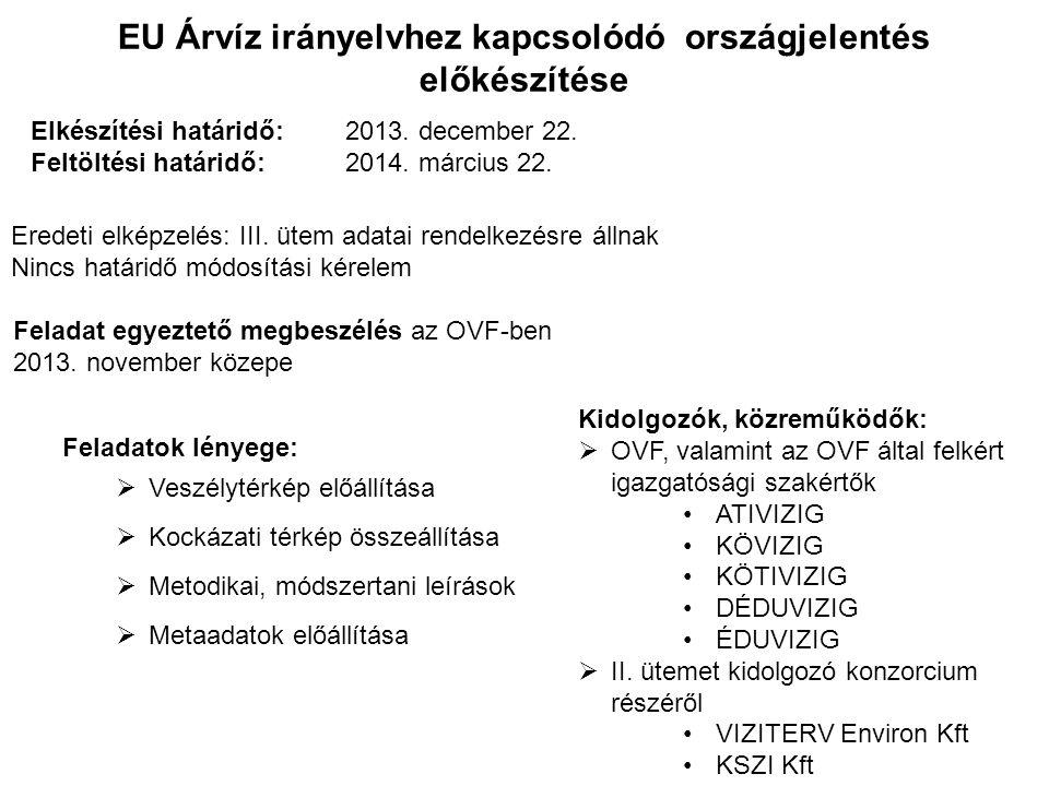 EU Árvíz irányelvhez kapcsolódó országjelentés előkészítése Feladatok lényege:  Veszélytérkép előállítása  Kockázati térkép összeállítása  Metodika
