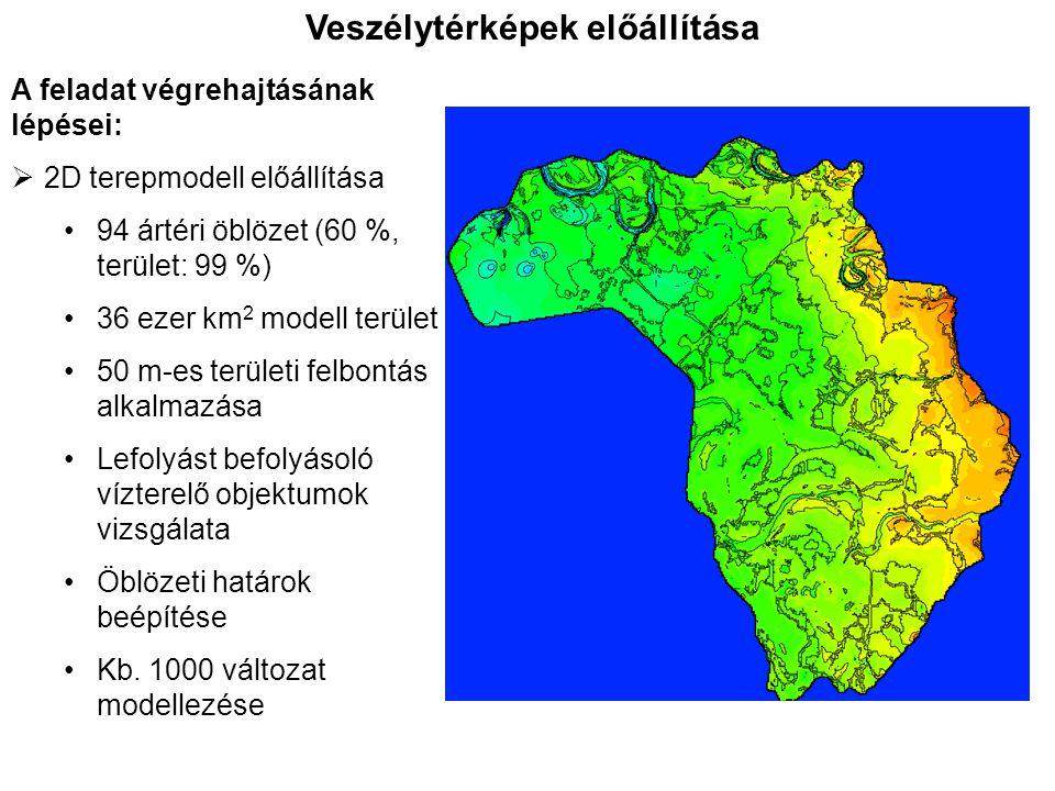 Veszélytérképek előállítása A feladat végrehajtásának lépései:  2D terepmodell előállítása 94 ártéri öblözet (60 %, terület: 99 %) 36 ezer km 2 model