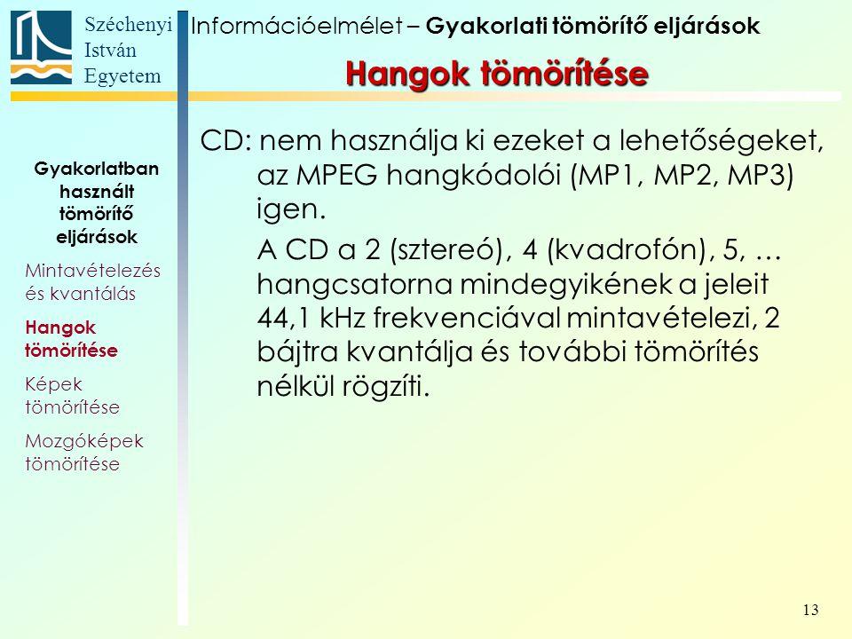 Széchenyi István Egyetem 13 CD: nem használja ki ezeket a lehetőségeket, az MPEG hangkódolói (MP1, MP2, MP3) igen.